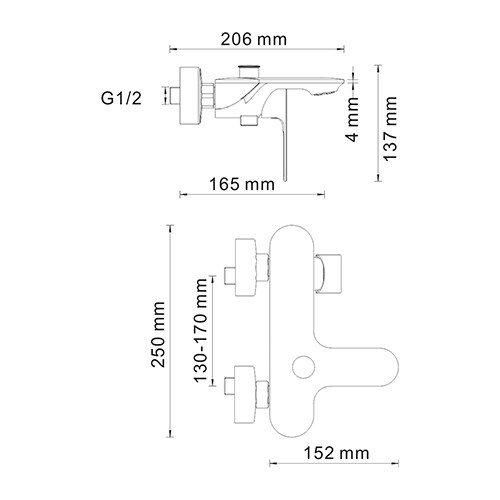 WasserKRAFT Dinkel 5801 Смеситель для ванны с коротким изливом