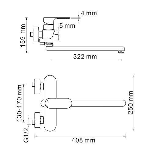WasserKRAFT Dinkel 5802L Смеситель для ванны с длинным изливом
