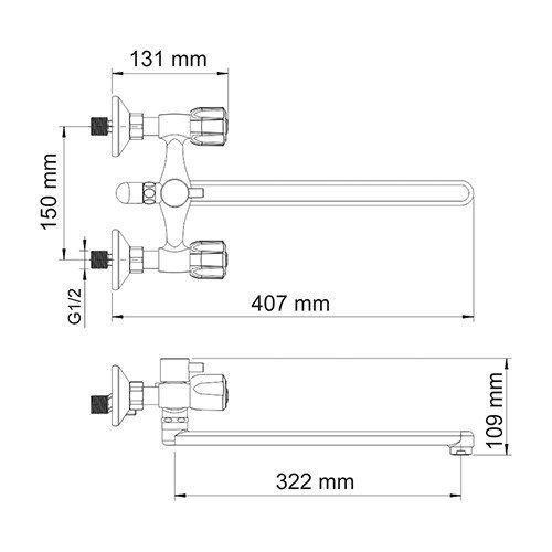Смеситель WasserKRAFT Amper 2902L ванны с длинным изливом