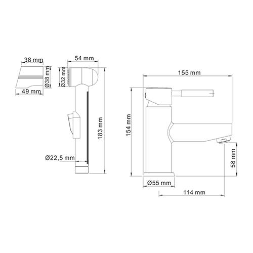 WasserKRAFT Main 4108 Смеситель для умывальника с гигиенической лейкой