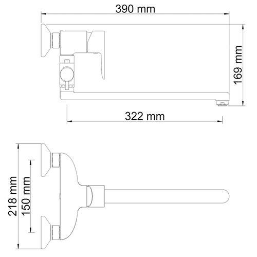 WasserKRAFT Leine 3502L Смеситель для ванны с длинным изливом