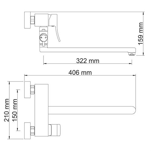 WasserKRAFT Aller 1062L Смеситель для ванны с длинным изливом