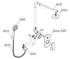 Встраиваемый комплект WasserKRAFT А14029  для душа с верхней душевой насадкой и лейкой_1