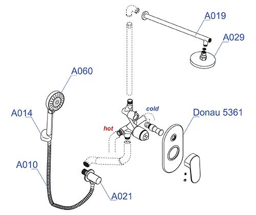 Встраиваемый комплект WasserKRAFT А14029  для душа с верхней душевой насадкой и лейкой