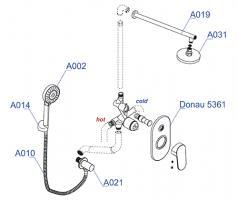 Встраиваемый комплект WasserKRAFT А14031 для душа с верхней душевой насадкой и лейкой_1