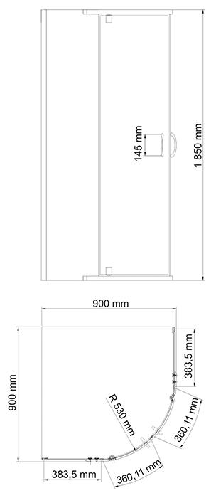 Душевое ограждение WasserKRAFT Leine 35P01 900*900*1850