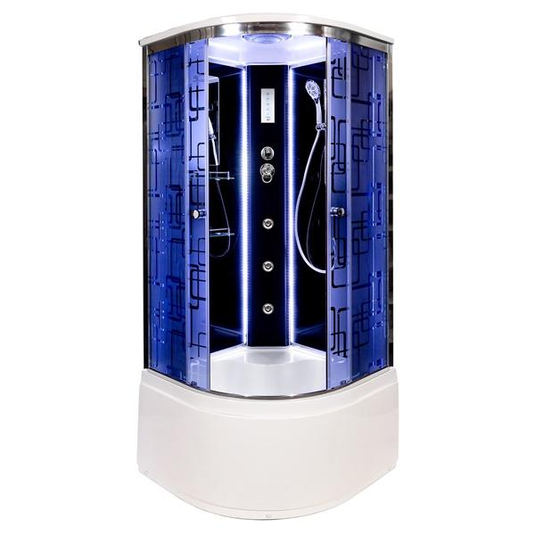 Душевая кабина Deto BМ4510 LED с гм. BLACK 1000*1000*2200
