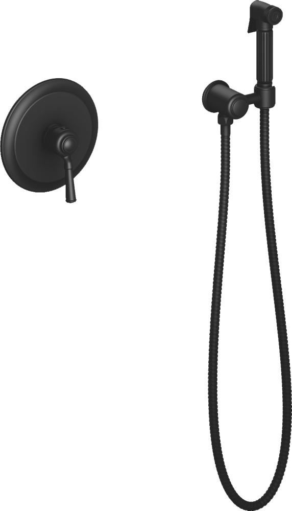 Смеситель встроенный с гигиеническим душем Timo Arisa 5309/03SM черный матовый