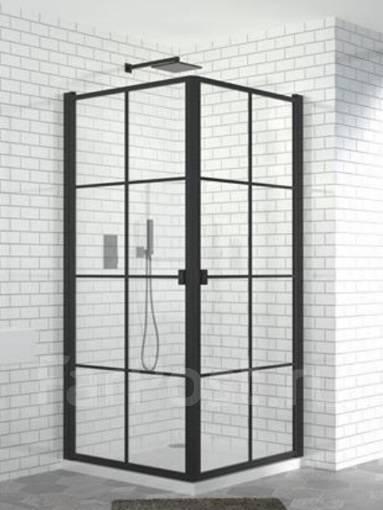 Душевой угол GF-5K1008 н. п, (900х900х2000) , стекла 6мм, черный