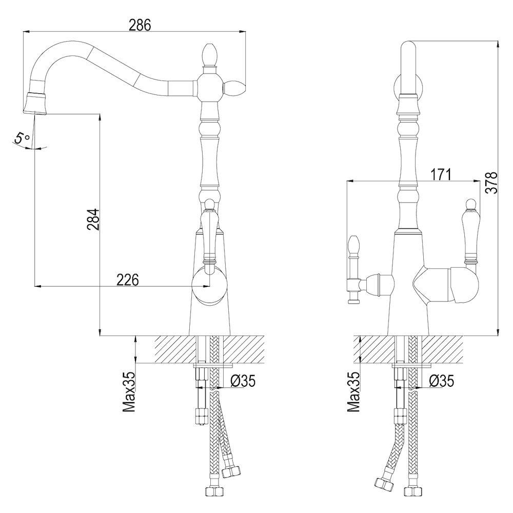 Смеситель Rossinka Z35-33 для кухни с подключением к фильтру с питьевой водой