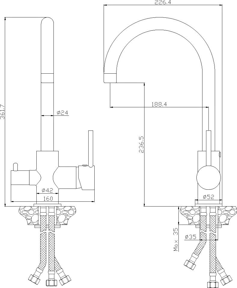Смеситель Rossinka Z35-28-White для кухонной мойки, белый