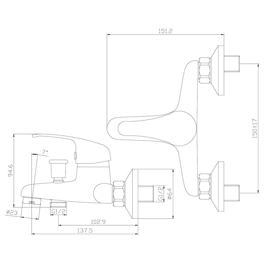 Смеситель Rossinka Y35-31 для ванны