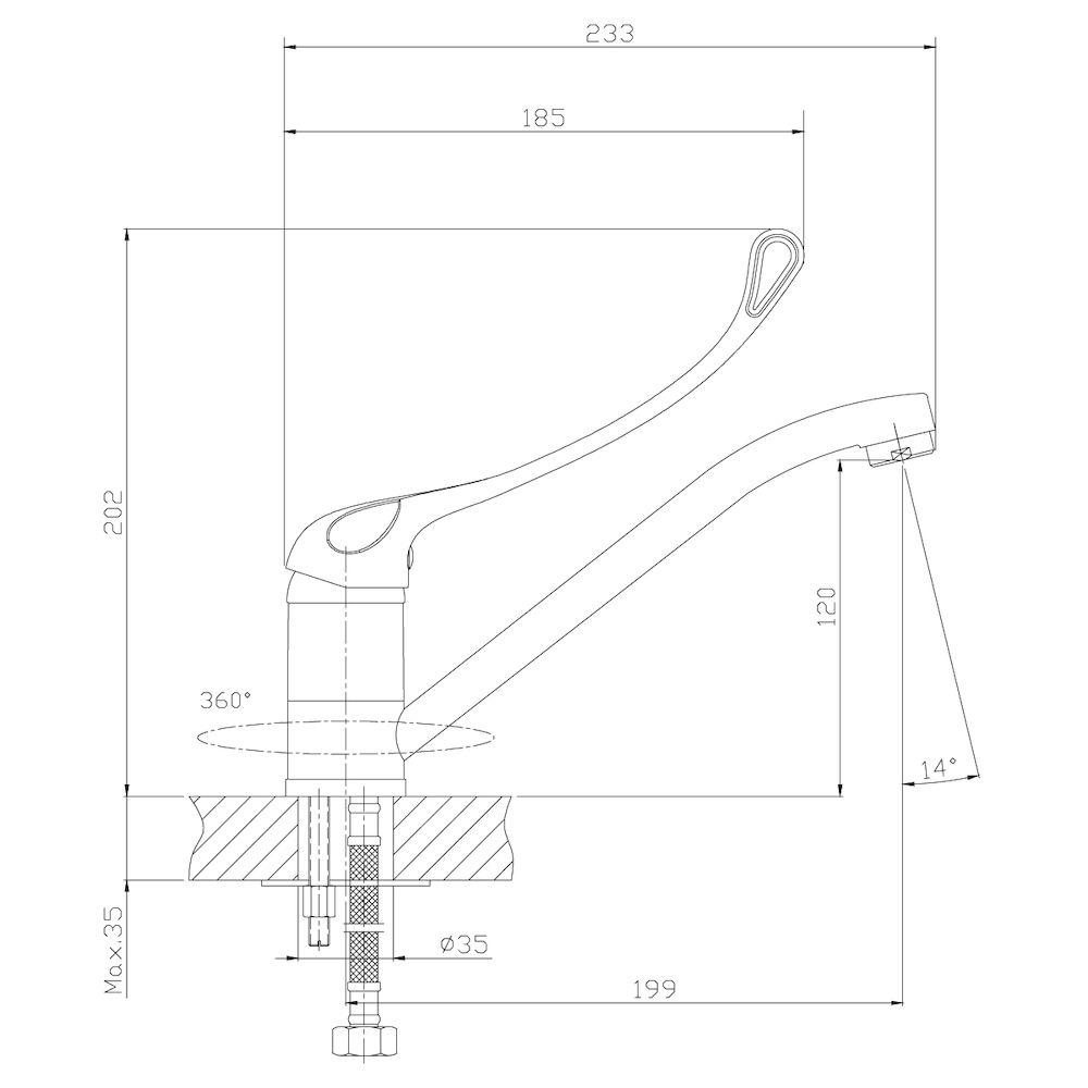 Смеситель Rossinka Y35-25 для кухни/ раковины с локтевой рукояткой