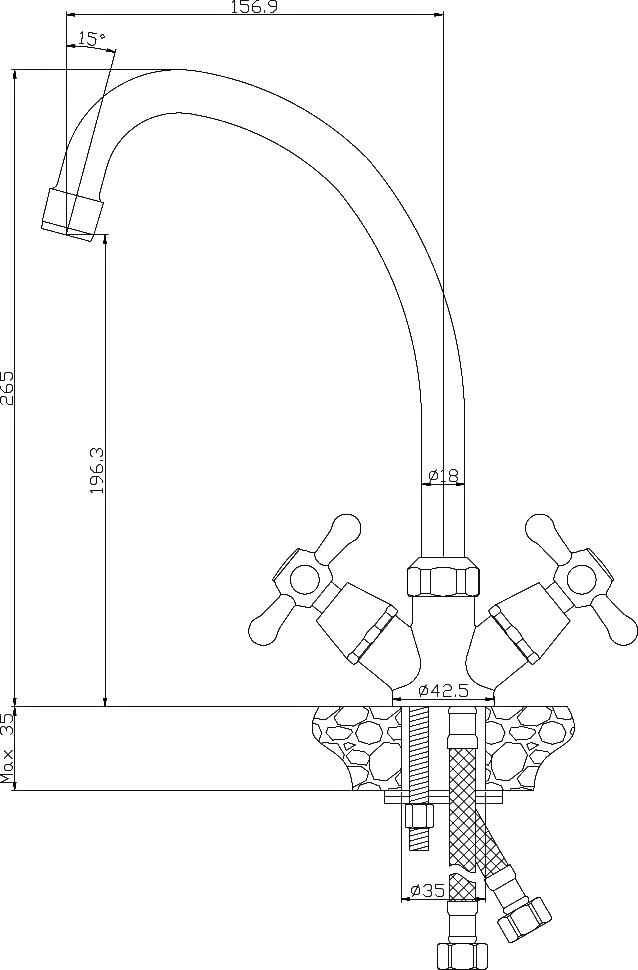 Смеситель Rossinka Y02-71-White для кухонной мойки двуручный, белый