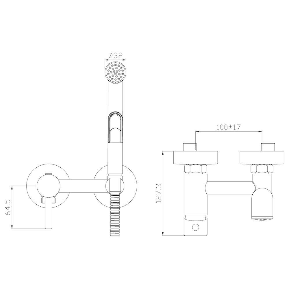 Смеситель Rossinka X25-52 с гигиеническим душем встраиваемый