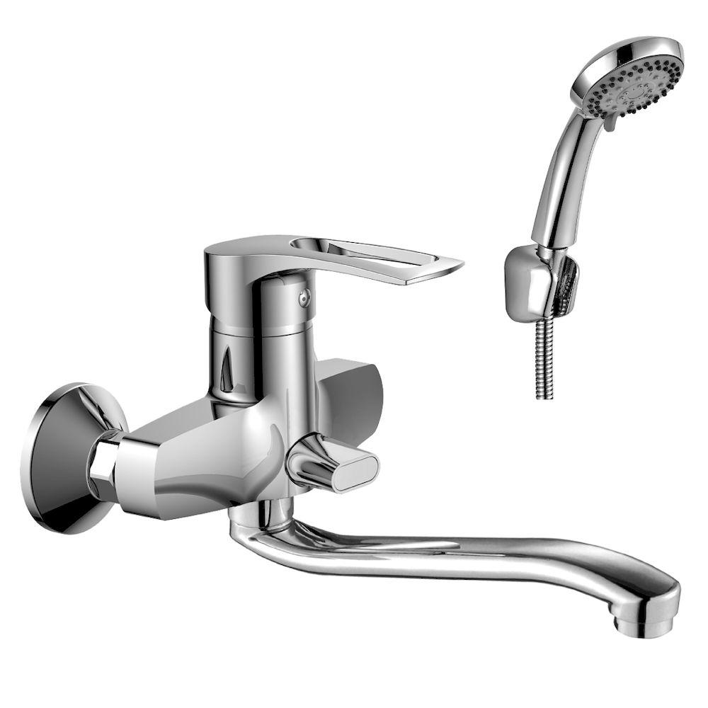 Смеситель Rossinka T40-34 для ванны универсальный с S-образным изливом