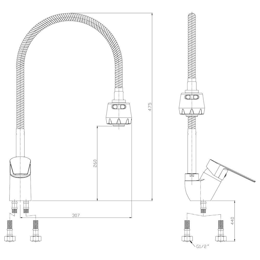 Смеситель Rossinka S35-26 для кухни с гибким изливом