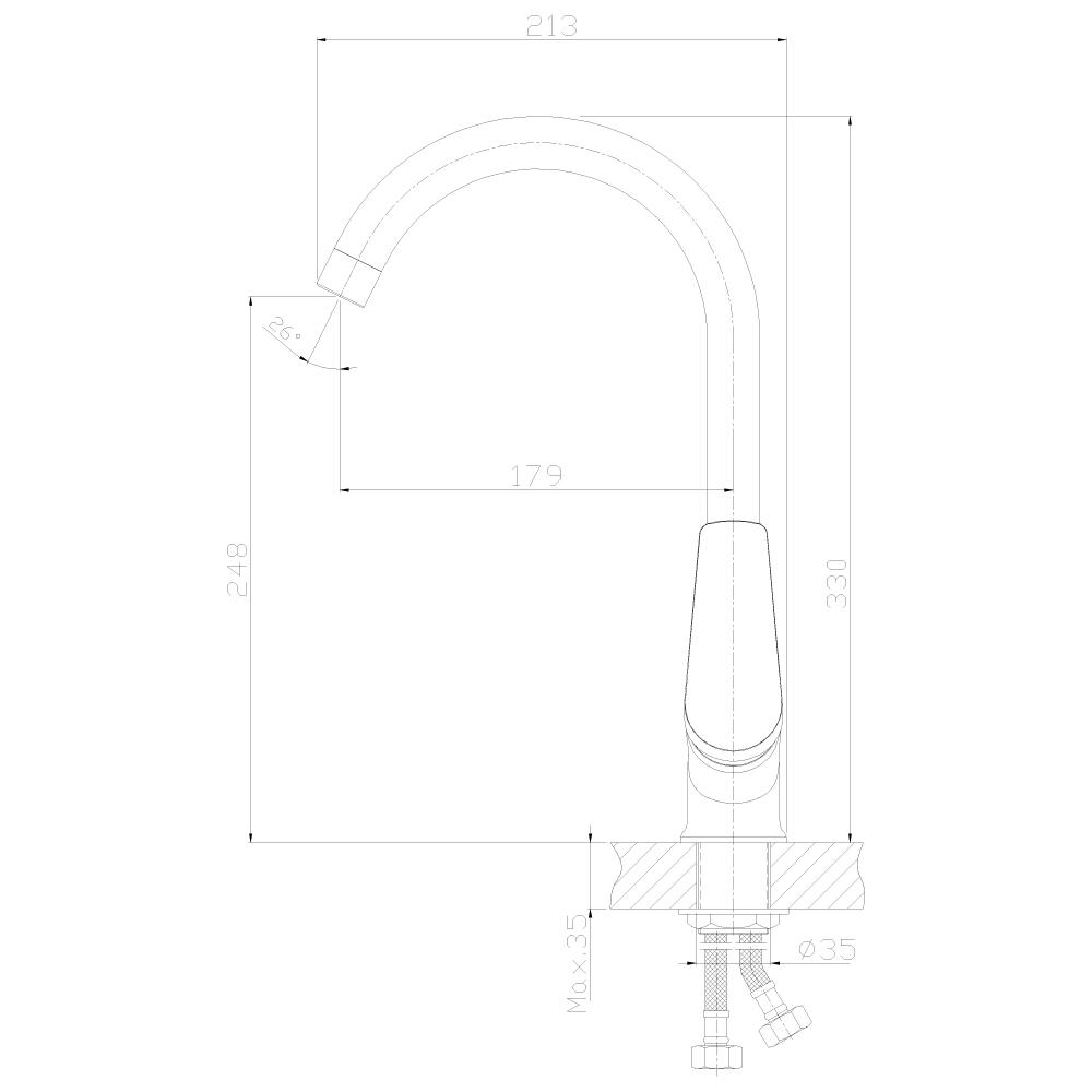 Смеситель Rossinka S35-23-White для кухонной мойки, белый