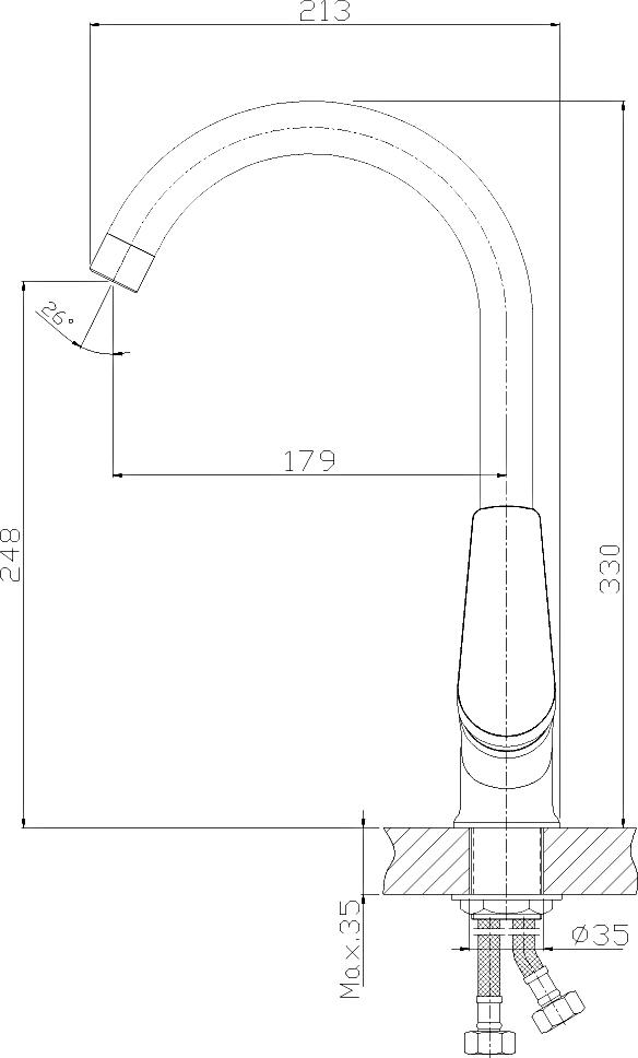 Смеситель Rossinka S35-23-Beige-Granite для кухонной мойки, бежевый гранит