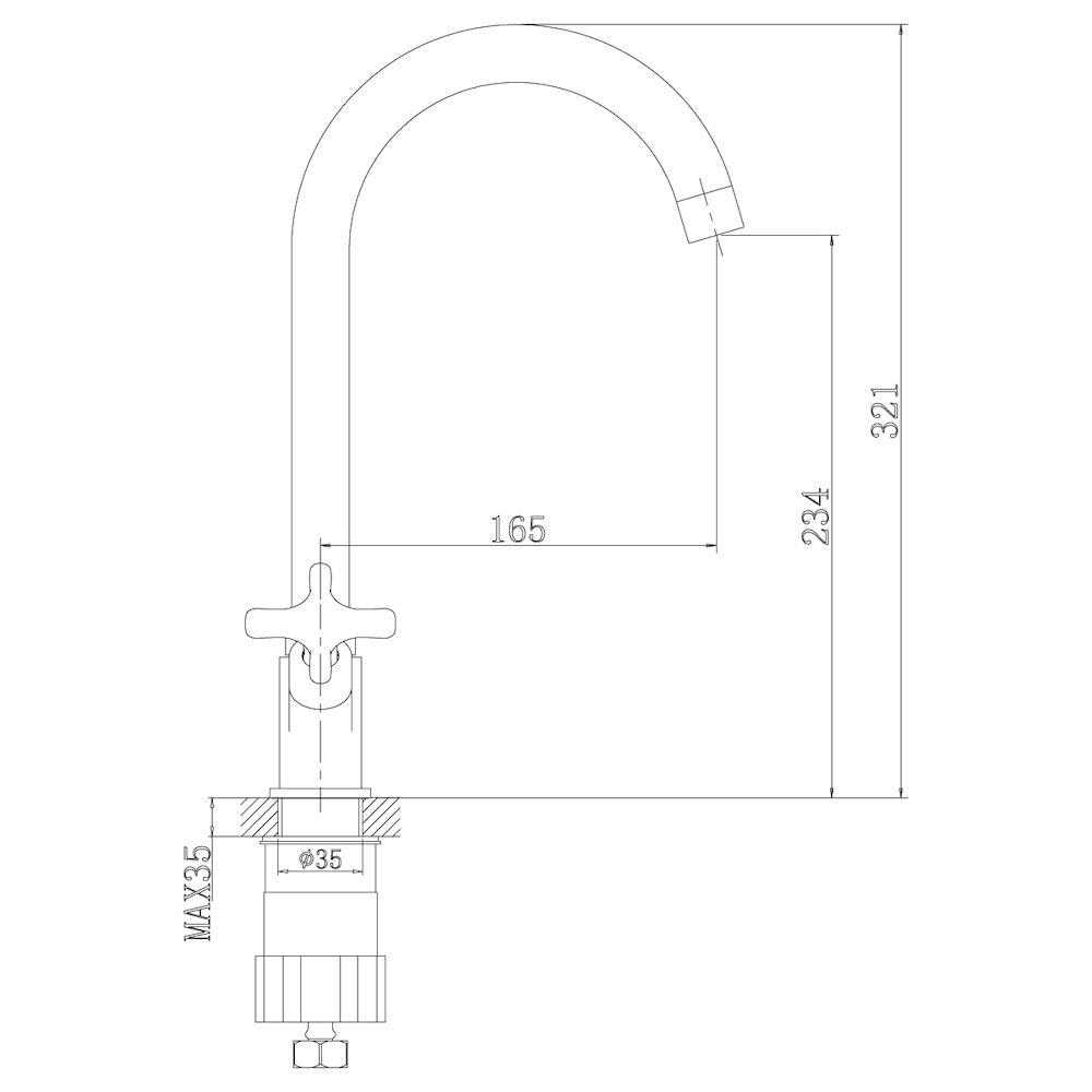 Смеситель Rossinka RS39-72U для раковины