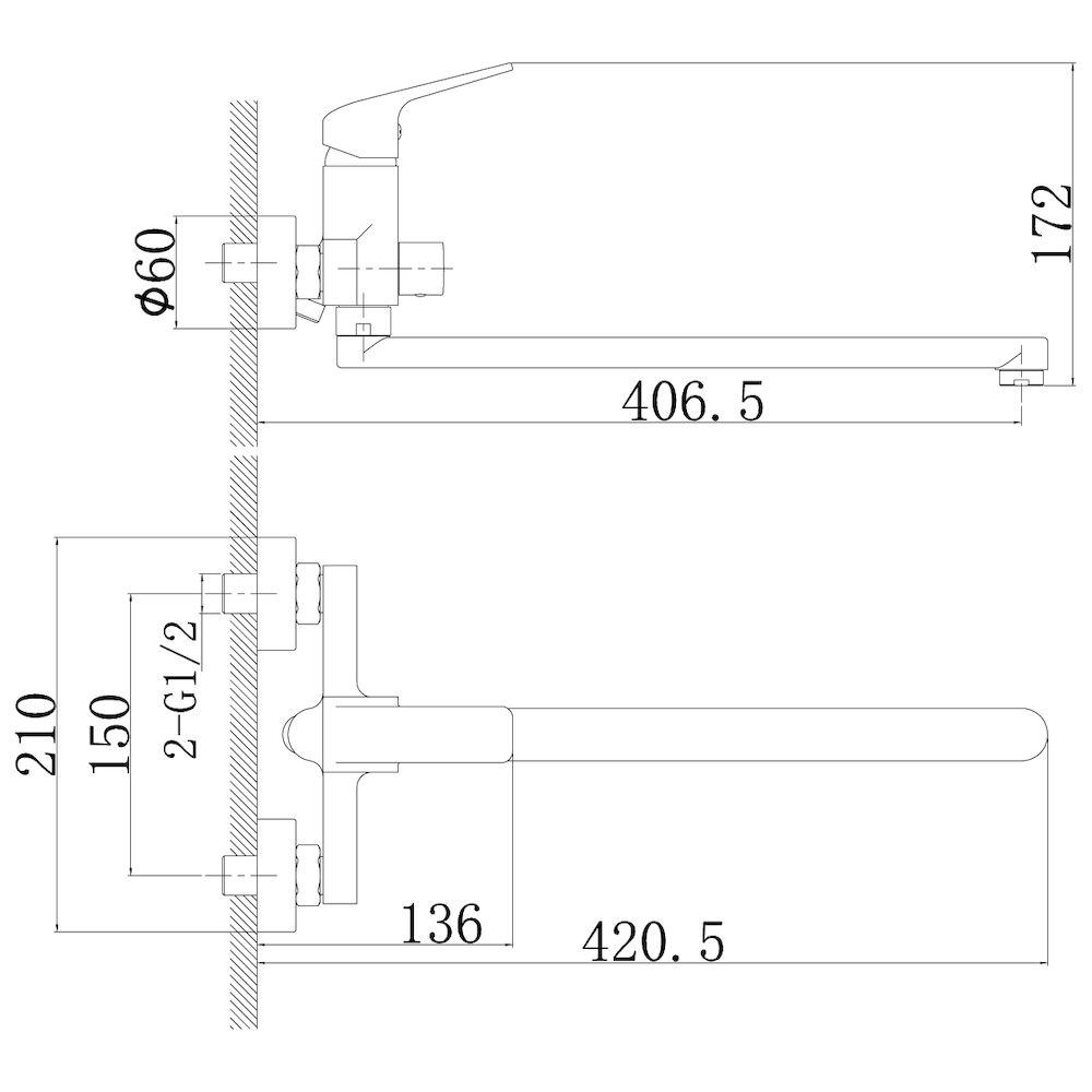 Смеситель Rossinka RS37-32 для ванны универсальный