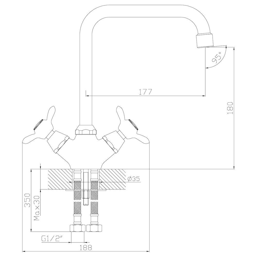 Смеситель Rossinka Q02-72 для кухни