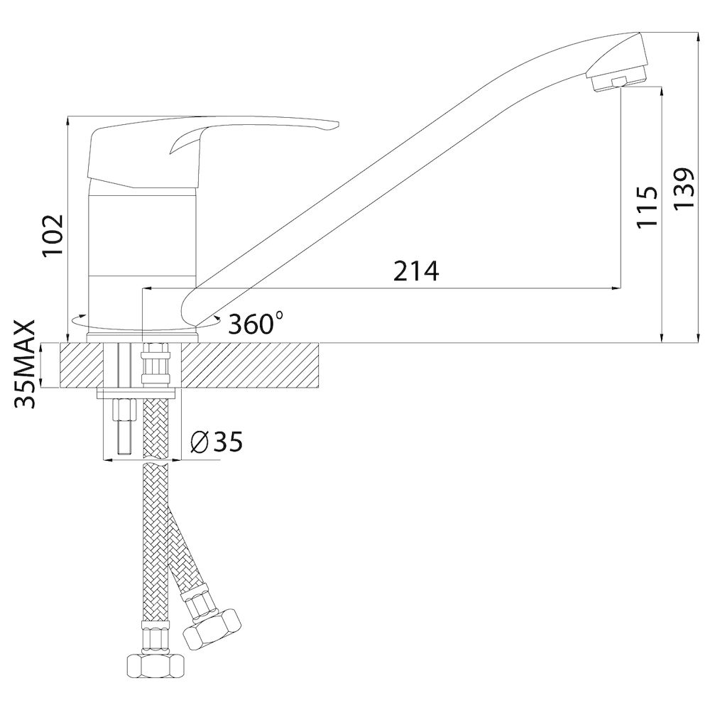 Смеситель Rossinka F40-21U для кухни