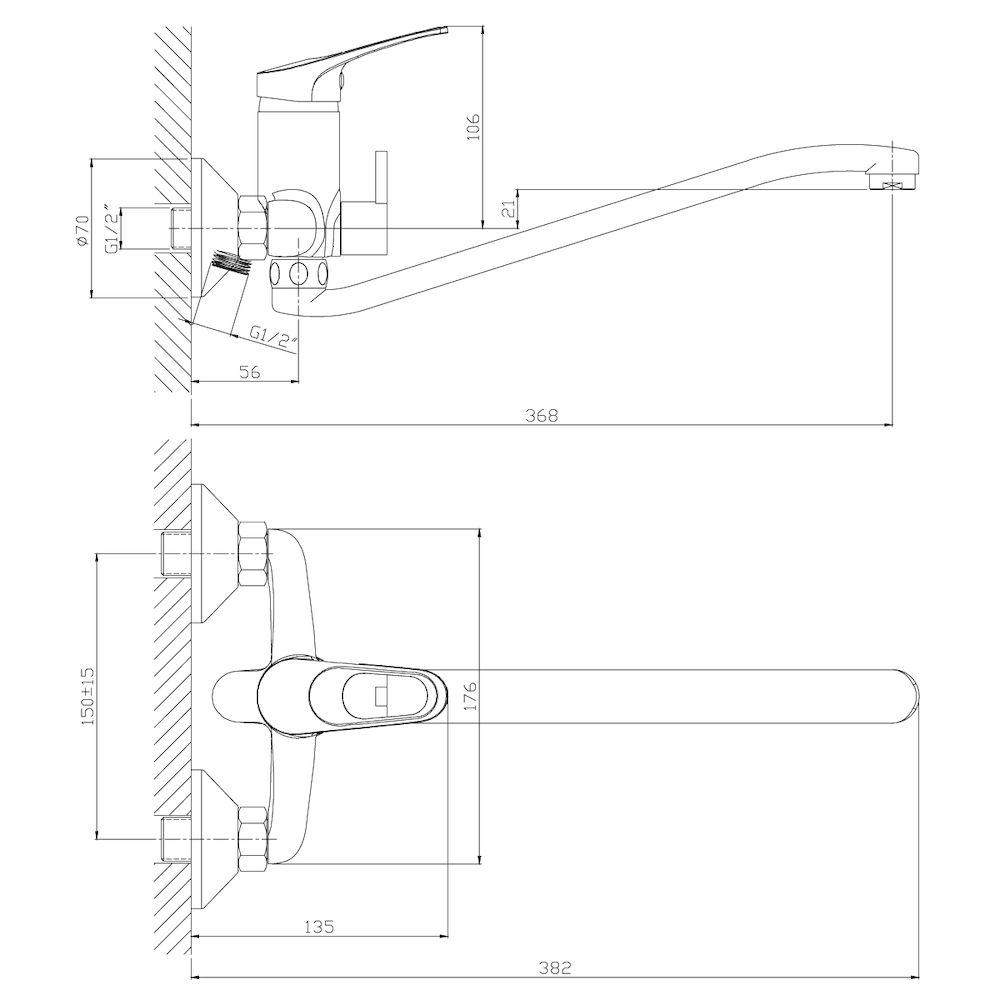 Смеситель Rossinka B35-34 для ванны с S-образным изливом