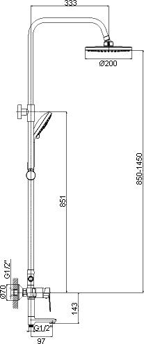 """Смеситель Rossinka S35-46 для ванны и душа с регулируемой высотой штанги и лейкой """"Тропический дождь"""""""