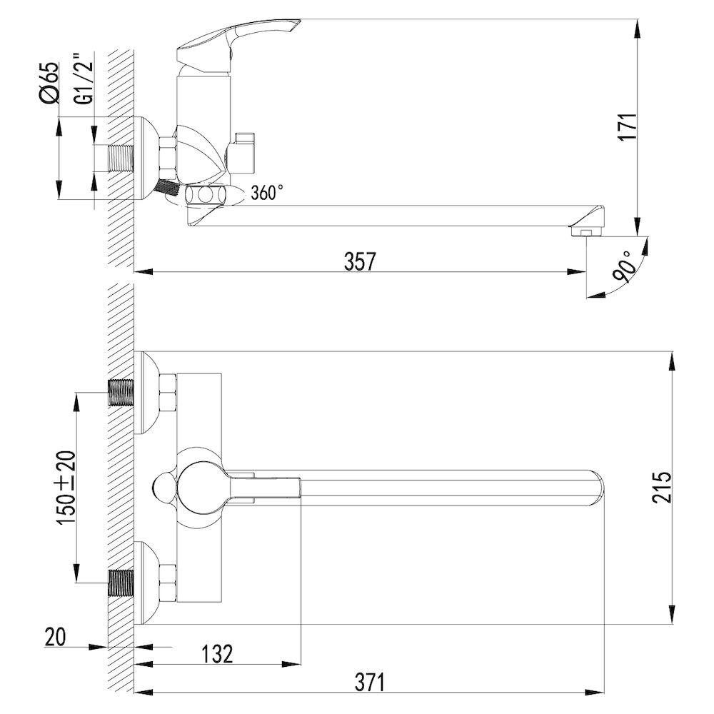 Смеситель Lemark Plus Strike LM1151C универсальный