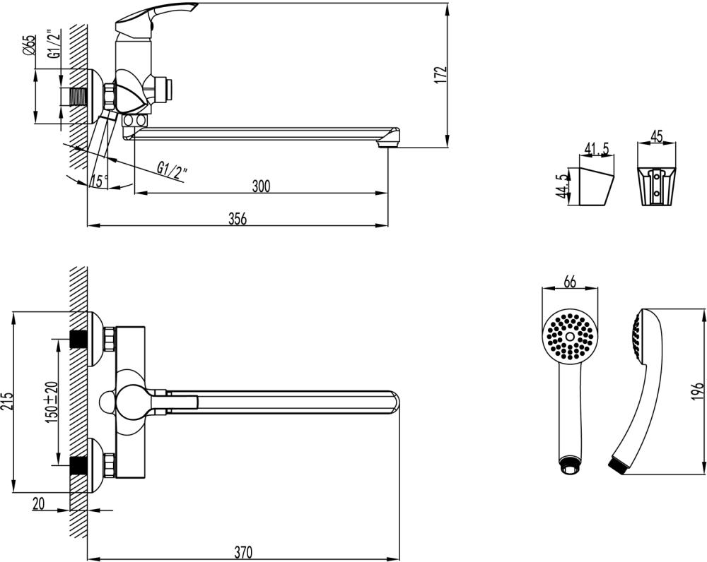Смеситель Lemark Plus Strike LM1157C универсальный