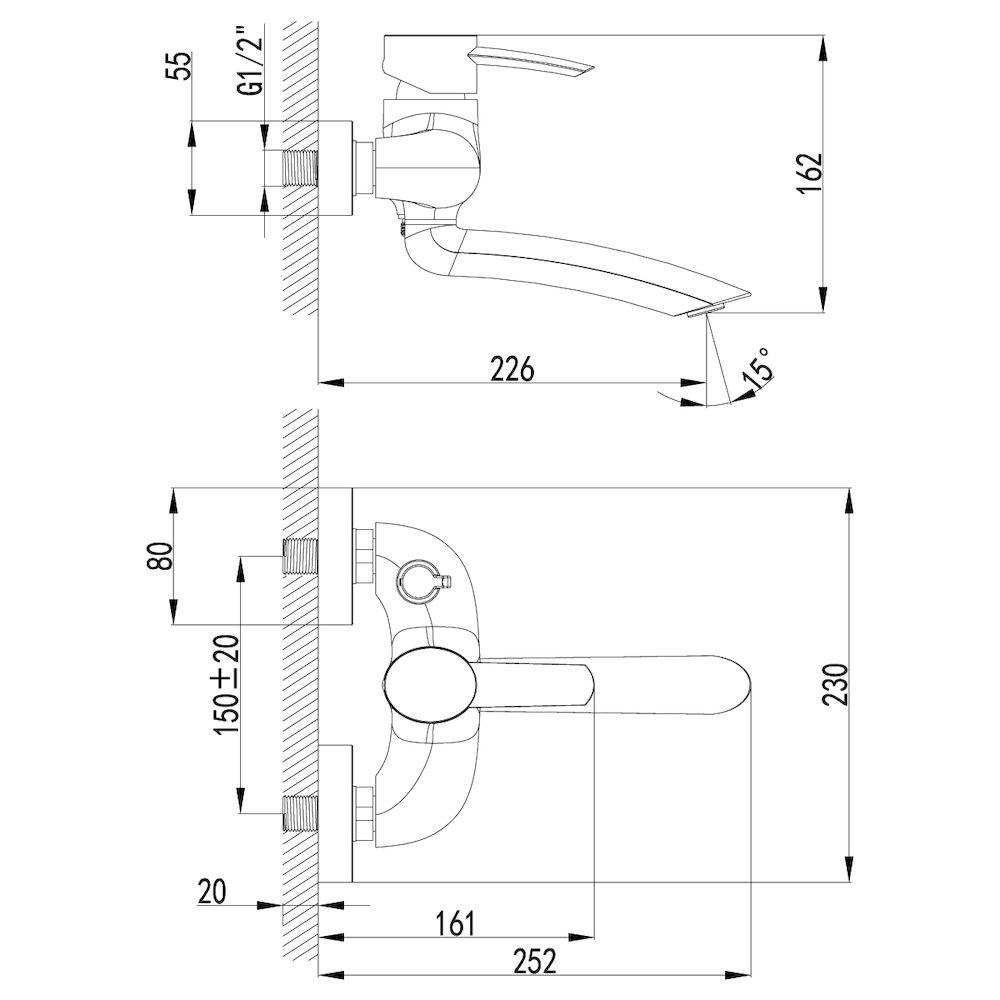 Смеситель Lemark Atlantiss LM3214C для ванны