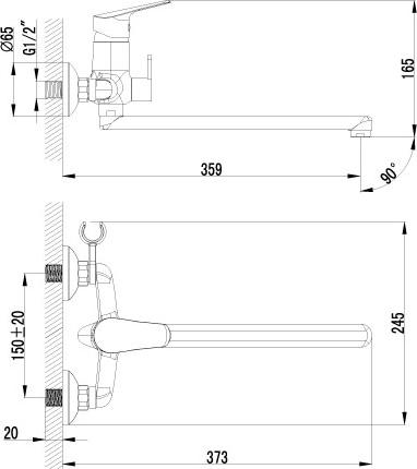 Смеситель Lemark Partner LM6551C универсальный