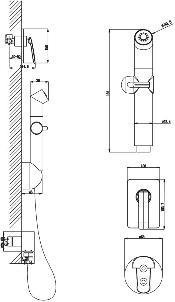 Смеситель Lemark Bellario LM6819C с гигиеническим душем, встраиваемый