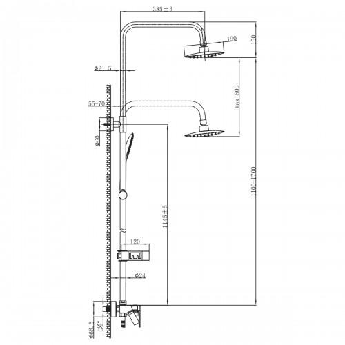 Смеситель Lemark Tropic LM7002BL для ванны и душа