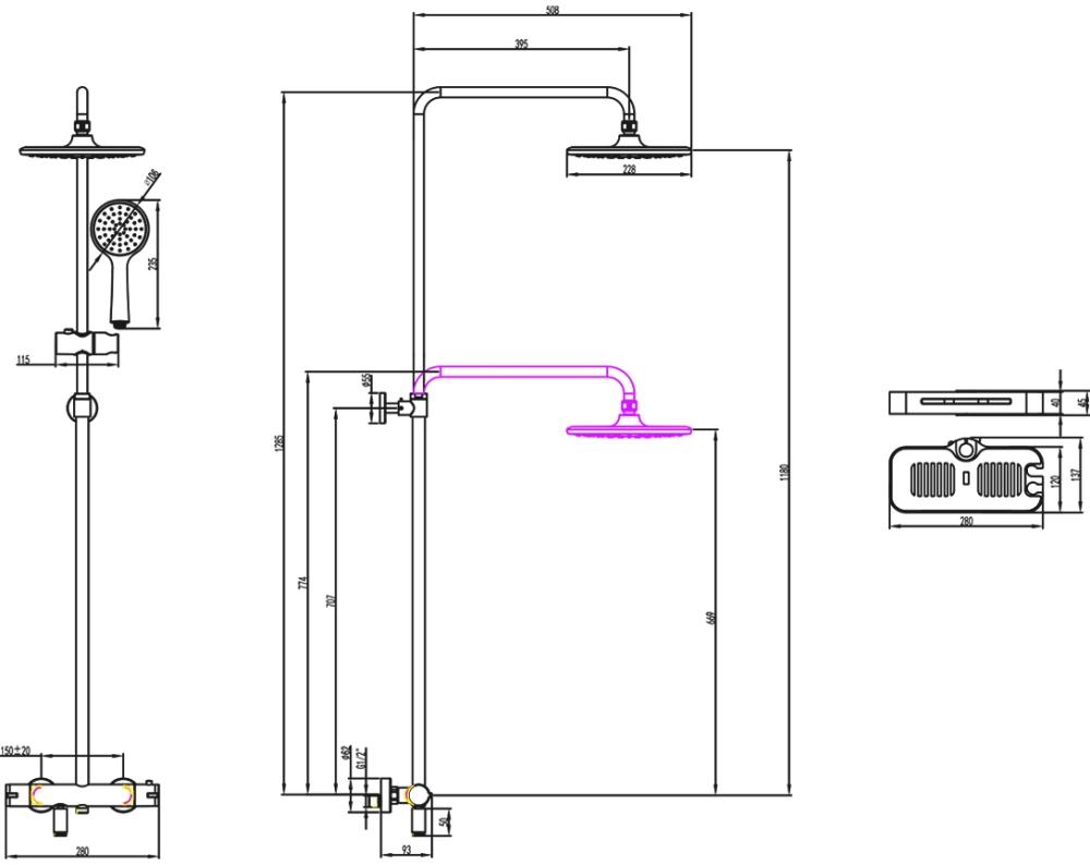 Смеситель Lemark Tropic LM7010C для ванны и душа, термостатический