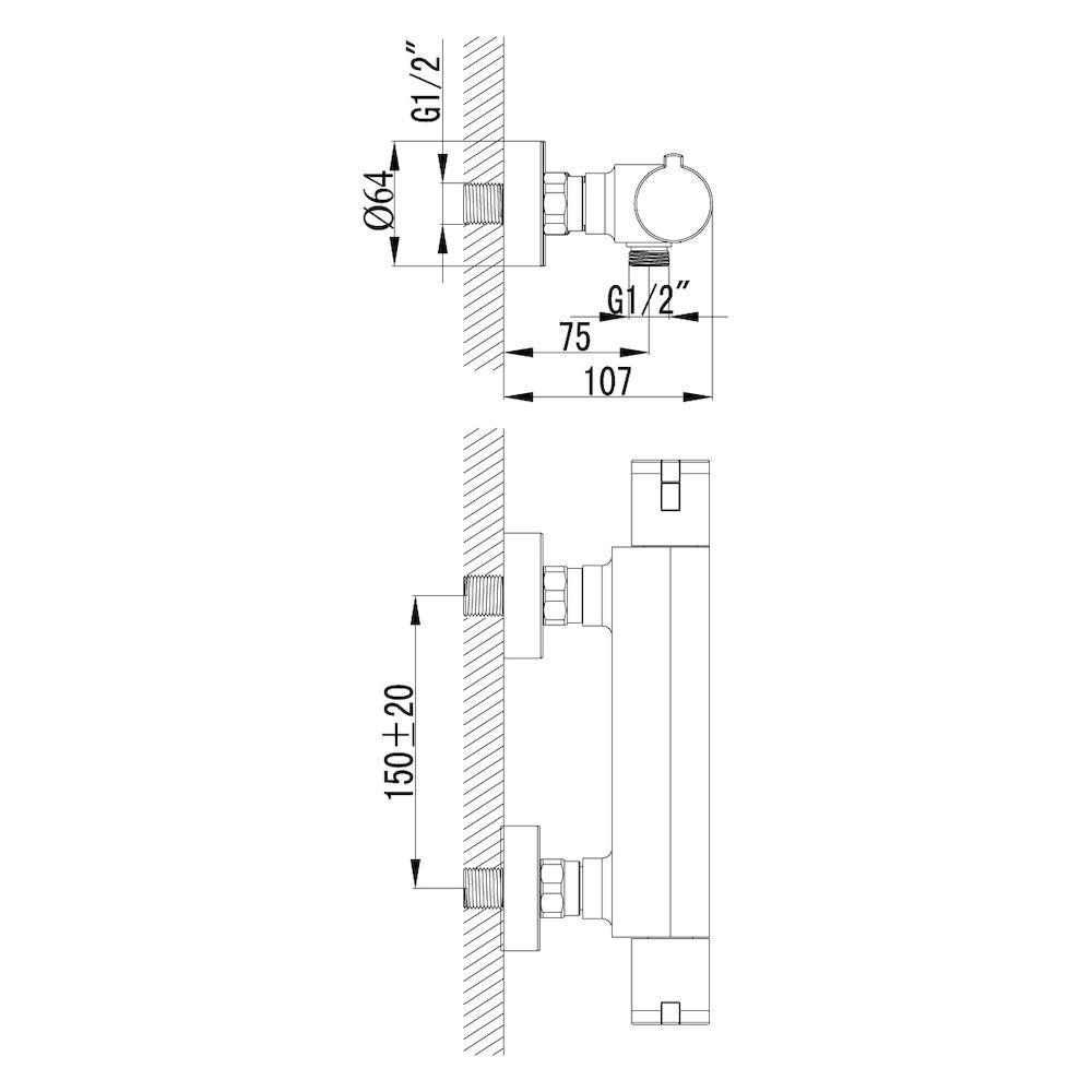 Термостат Lemark Yeti LM7833C для душа, термостатический