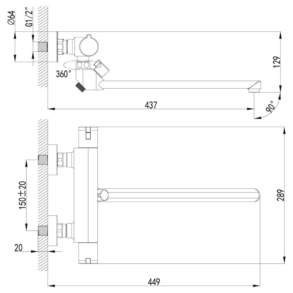 Термостат Lemark Yeti LM7834C для ванны, термостатический