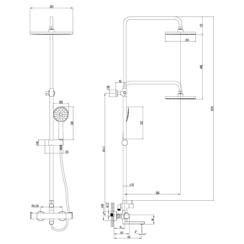 Смеситель Lemark Yeti LM7862C для ванны и душа, термостатический