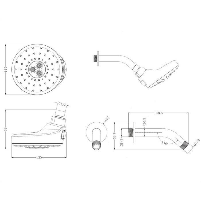Верхний душ OMNIRES DOUGLAS-WCR (хром)