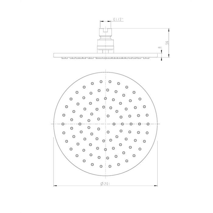 Верхний душ OMNIRES WG120BL D=20 см (черный BLM)