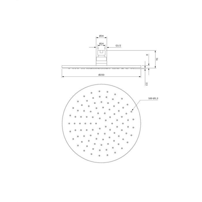 Верхний душ OMNIRES WG125CR D=25 см (хром)