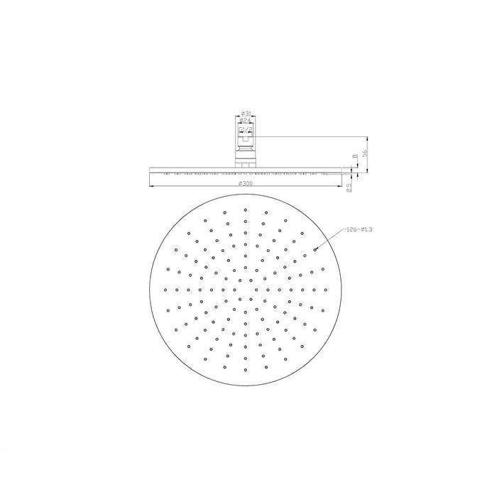 Верхний душ OMNIRES WG130CR D=30 см (хром)