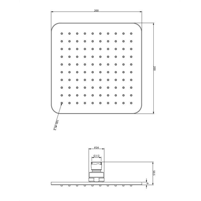 Верхний душ OMNIRES WG220/OCRB 20х20 см (хром/белый)