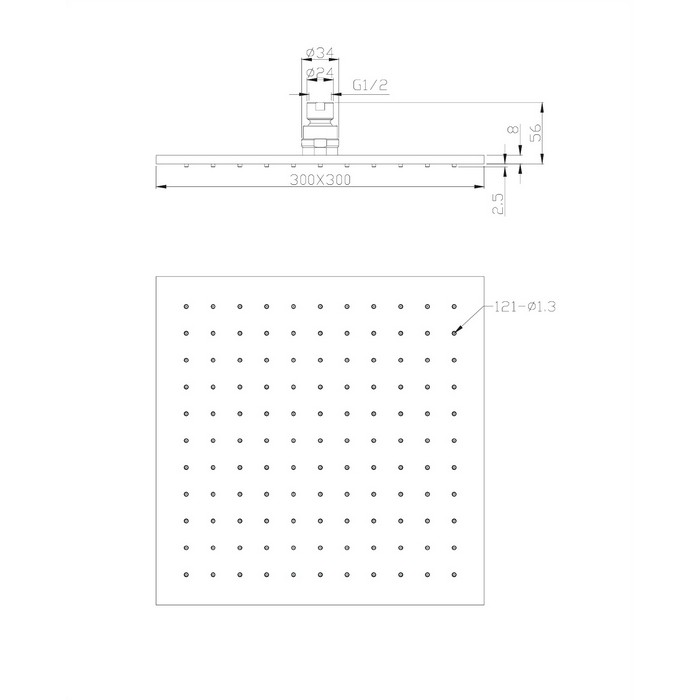 Верхний душ OMNIRES WG230CR 30х30 см  (хром)