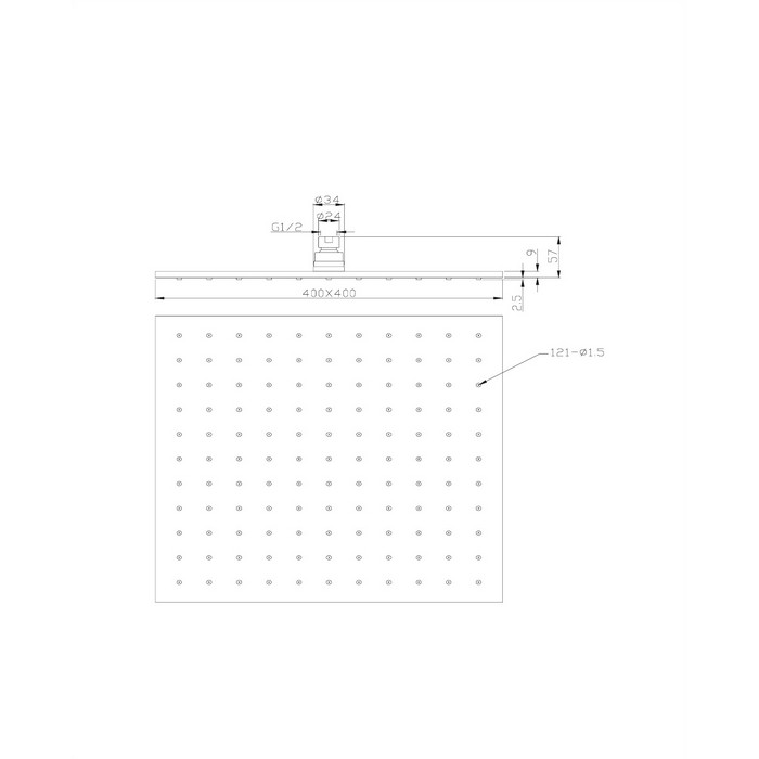 Верхний душ OMNIRES WG240CR 40х40 см (хром)