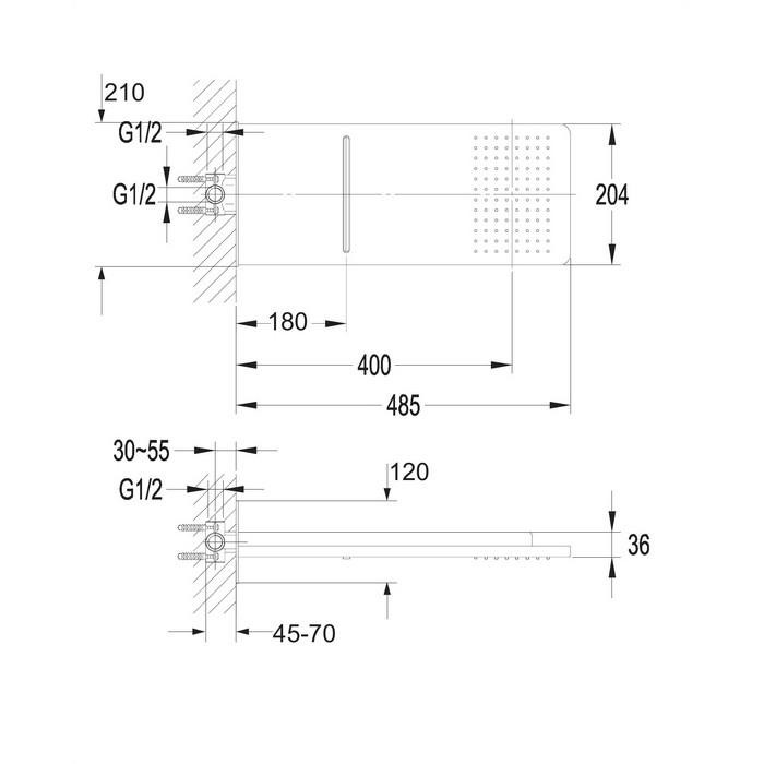 Верхний душ OMNIRES WG510CR 48,5х20,4 см (хром)