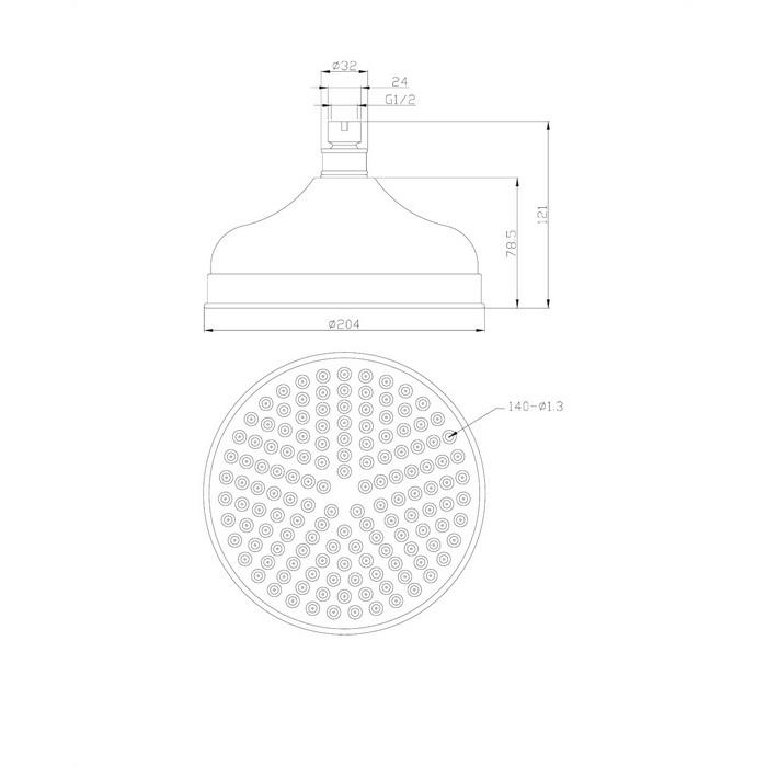 Верхний душ OMNIRES WG620CR D=20,5 см (хром)