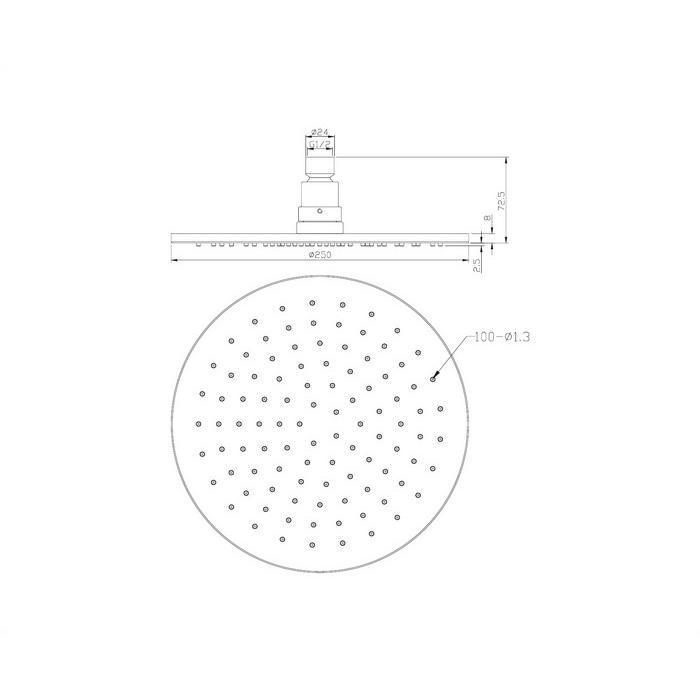 Верхний душ OMNIRES WGA125CR D=25 см (хром)