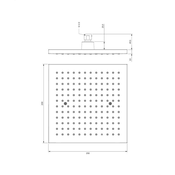 Верхний душ OMNIRES WGR225CR 25х25 см (хром)